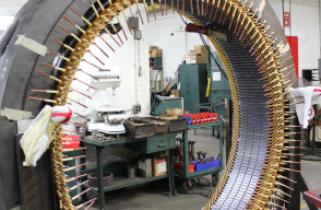 Form coil windings prior to connection of a 1250 HP Westinghouse stator