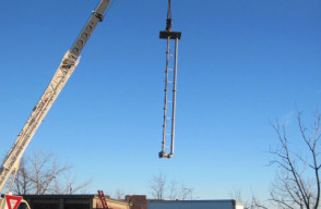 Installation Onsite of a 40 ft Vertical Pump and Motor, Pumping Station