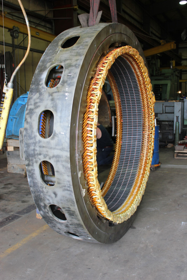 Detail view of new stacked stator core and corm coil connections