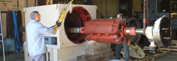 Electric Motor Repair Department, Rotor Removal