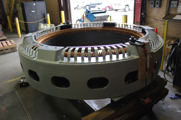 Surge and hi-pot testing of completed 1250 HP Westinghouse hydro generators rewind and restacked stator core
